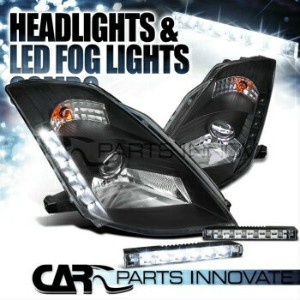"日産 フェアレディー Z ヘッドライト Fit 03-05 Nissan 350Z Z33 Fairlady Black ""HID"" Projector Headlights+LED Fog DRL..."