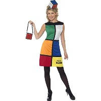 Smiffys Women's Multi Rubiks Cube Costume With Heanband - Us Dress 10-12