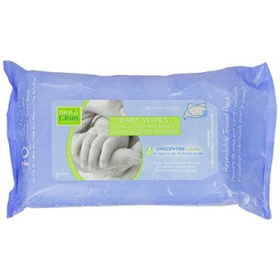 Nice 'N Clean Baby Wipes with Aloe, Travel Paks, Unscented, Hypoallergenic, Case of 12/40s (480 ct)...