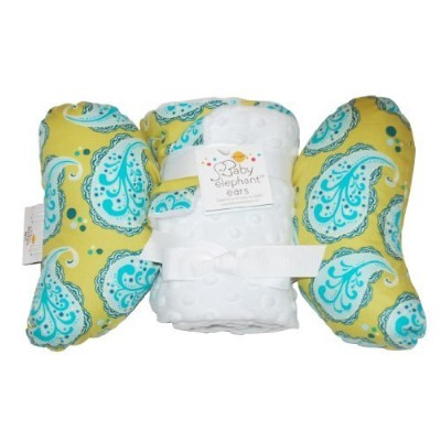 Baby Elephant Ears Head Support Pillow & Matching Blanket Gift Set (Playful Paisley) by Baby...