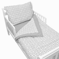 TL Care 100% Cotton Percale Toddler Bed Set, Gray Lattice by TL Care