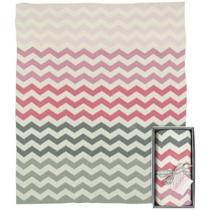 Weegoamigo Knitted Travel Blanket - Chevron Pink by Weegoamigo