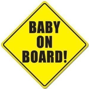 Baby Safety Sign: BABY ON BOARD, with suction disk. (Color: Black letters on Yellow background) by...