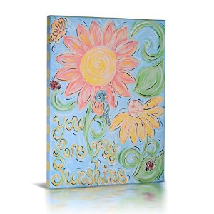 Green Frog Canvas Gallery Wrapped Art Decor, You are My Sunshine [並行輸入品]