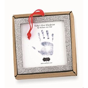 Mud Pie Glitter Handprint with Ink Pad, Square Frame by Mud Pie