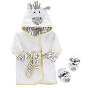 Just Born Just Bath Welcome to the Circus Robe and Booties Set, Grey/Yellow/White by Just Born