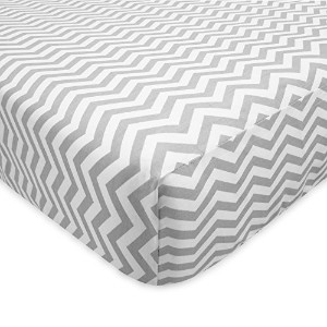 TL Care 100% Cotton Flannel Fitted Crib Sheet, Gray Zigzag by TL Care