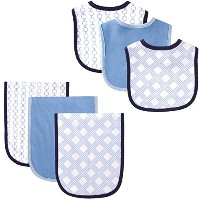 Hudson Baby 6 Piece Bib and Burp Cloth Set, Links by Hudson Baby