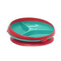 The First Years Inside Scoop Suction Sectioned Plate, Red/ Teal by The First Years