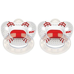 NUK 2 Count Sports Orthodontic Pacifier, Size 2, Baseball 2 by NUK