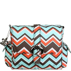 Kalencom Midi Coated Buckle Bag (Chevron Stripes Coral) by Kalencom