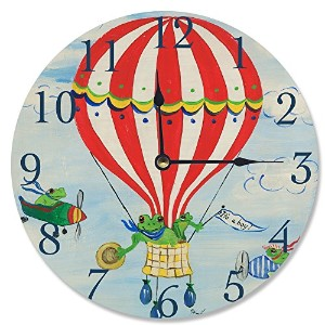 The Kids Room by Stupell It's a Boy Frogs in a Hot Air Balloon Wall Clock by The Kids Room by...