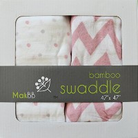 MakBB Ultra Soft Baby Swaddle Blanket, Bamboo Rayon, 2 count 47 x 47 (Pink - Girl) by MakBB