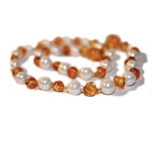 The Art of Cure Baltic Amber Teething Necklace for Baby (Lemon & Mother of Pearl) - Anti-inflammator...