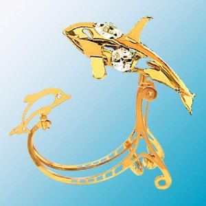 24k Gold Plated Orca Whale Rocker Figure Austrian Crystal by Mascot