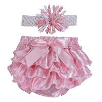 Stephan Baby Pink and White Satin Ruffled Diaper Cover and Curly Bow Headband, 6-12 Months by...