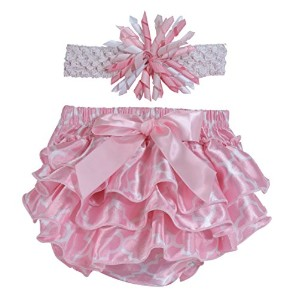 Stephan Baby Pink and White Satin Ruffled Diaper Cover and Curly Bow Headband, 12-18 Months by...