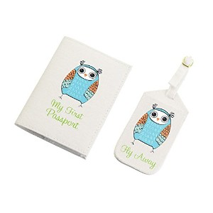 Lillian Rose Luggage Tag and Passport, Blue/Owl, 6.75 x 5.75 by Lillian Rose