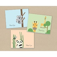 Baby Thank You Cards (24 Fold-over Cards and Envelopes) Animal Thank You, Baby Shower Thank You by...