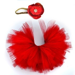 XMYM@ Photography Prop Newborn Baby Infant Lovely Costume TuTu Dress Flower Headband 0-3 Month (Red...