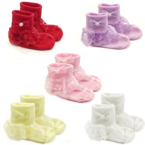 Wrapables Snowy Lace Ruffle Cuff Socks for Toddler Girl、5のセット 4-6