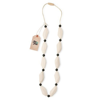 Fox and Finn 'Sophia' Silicone Teething Necklace for Babies | Safety Knotted Silk Rope | Does Not Pull Out Hair | 14 Inch Drop (coconut) by Fox and Finn