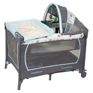 Baby Trend Serene Infant Nursery Center Portable Playard Bassinet, Mod Dot, Blue Green Grey by Baby...
