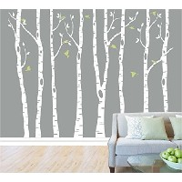 Set of 8 Birch Tree Wall Decal for Nursery Big White Tree Wall Sticker Fliying birds Wall Art Decor...