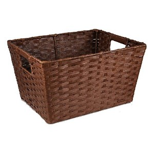 The Lucky Clover Trading Rectangular Paper Fiber with In-Handle Basket, Brown, Small by The Lucky...