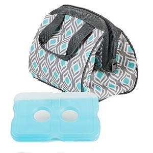 Fit & Fresh Charlotte Insulated Lunch Bag with Reusable Ice Pack (Gray Aqua Leaf) by Fit & Fresh