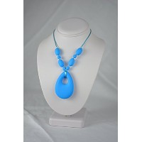 adelily Nontoxic Nursing & Teething Necklace: Silicone Teardrop Pendant in Sky Blue [並行輸入品]