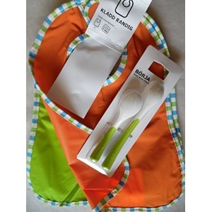 Ikea's Baby Gift Set: 2 Kladd Randig Bib, Green, Orange & Borja 2 Spoons 2 Items Bundle by IKEA