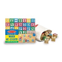 Melissa & Doug Deluxe 50-piece Wooden ABC/123 Blocks Set (colors may vary) [並行輸入品]