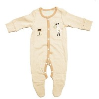 Cigogne BeBe Logo Long Sleeve One-Piece Beige 0~3 Month by Cigogne BeBe