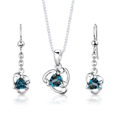 Sterling Silver Rhodium Finish 2.75 carats total weight Trillion Cut London Blue Topaz Pendant...