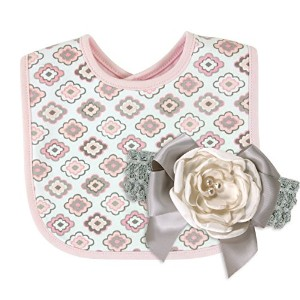 Stephan Baby Bib and Satin Rose Headband with Faux Pearls Diamond Flower Gift Set, Pink/Grey/White,...
