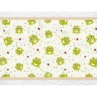 "i-love-wandtattoo b-10038保育園壁デカールBorder "" Frog with Hearts ""の子の部屋ステッカーBoy Girl Baby Height: 5.91"";..."