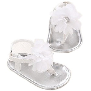 LINKEY Infant Baby Girls Summer Flower Soft Sole Sandals Flip Flops Beginer Walker Shoes Silver...