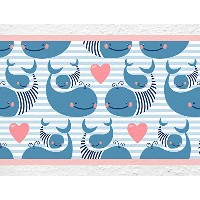 "i-love-wandtattoo b-10032保育園壁デカールBorder "" Sweet Whales ""の子の部屋ステッカーBoy Girl Baby Height: 5.91"";..."