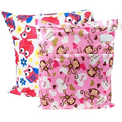 Yarra Modes 2 pcs Baby Wet and Dry Cloth Diaper Bags (Monkey and Red Owls) by Yarra Modes