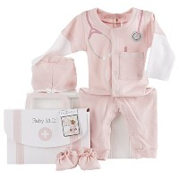 Baby Aspen Big Dreamzzz Baby, M.D. 3 Piece Layette Set in Gift Box, Pink by Baby Aspen [並行輸入品]