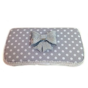 Grey and white polka dots and silver sequence bow baby wipes case by Ajo.Bebe [並行輸入品]