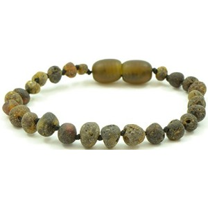 Unpolished Baltic Amber Teething Bracelet / Anklet for Baby - Dark Green Color - 6.3 inches -...