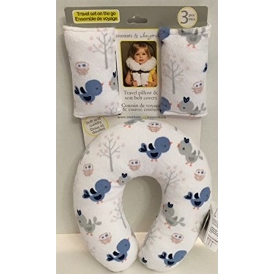 Blue & Grey Birds Travel Pillow & Seat Belt Cover Set from Blankets & Beyond by Blankets and Beyond