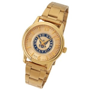 メンズ米国海軍USNゴールドメッキBulova US Armed Forces Military Watch