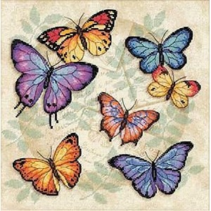 """Butterfly Profusion Counted Cross Stitch Kit-11""""X11"""" 14 Count (並行輸入品)"""