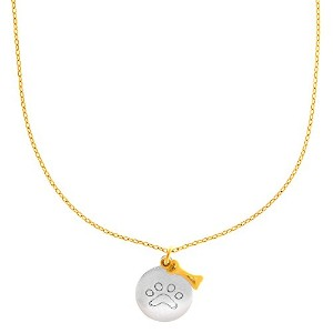 "14k White Gold Round Paw Charm And Yellow Gold Dog Bone Pendant On 17"" Necklace"