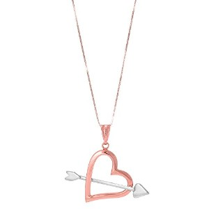 """14k 2 Tone Rose And White Gold Arrow Through Open Heart Pendant On 18"""" Necklace"""