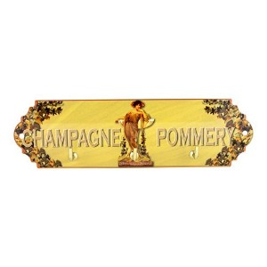 Metal Key Rack, 3 hooks, French vintage design Pommery Champagne, 8.5 X 3 X 1 by My French Neighbor
