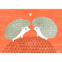 Oopsy Daisy Hedgie Love by Sarah Walshキャンバス壁アート、14 by 10-inch
